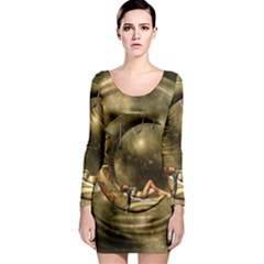 Steampunk Lady  In The Night With Moons Long Sleeve Bodycon Dress by FantasyWorld7