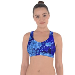 Floral Design, Cherry Blossom Blue Colors Cross String Back Sports Bra by FantasyWorld7