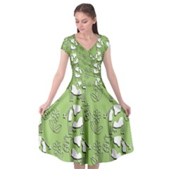 Cow Flower Pattern Wallpaper Cap Sleeve Wrap Front Dress by Nexatart