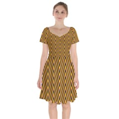 Chevron Brown Retro Vintage Short Sleeve Bardot Dress by Nexatart