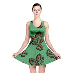 Chocolate Background Floral Pattern Reversible Skater Dress