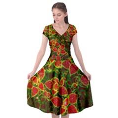 Flower Red Nature Garden Natural Cap Sleeve Wrap Front Dress by Nexatart