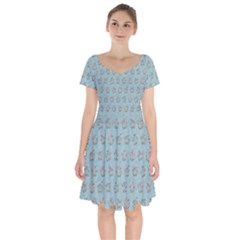 Texture Background Beige Grey Blue Short Sleeve Bardot Dress by Nexatart