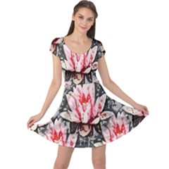 Water Lily Background Pattern Cap Sleeve Dress