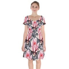 Water Lily Background Pattern Short Sleeve Bardot Dress