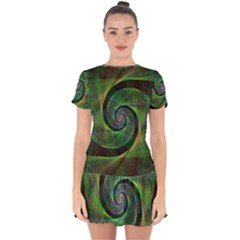 Green Spiral Fractal Wired Drop Hem Mini Chiffon Dress