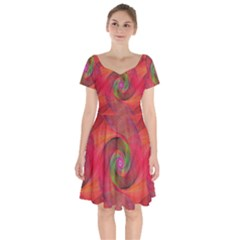 Red Spiral Swirl Pattern Seamless Short Sleeve Bardot Dress