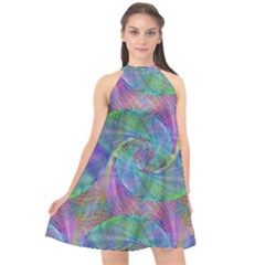 Spiral Pattern Swirl Pattern Halter Neckline Chiffon Dress  by Nexatart