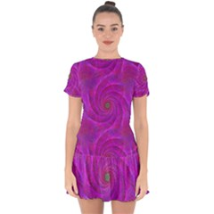 Pink Abstract Background Curl Drop Hem Mini Chiffon Dress