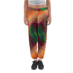Ellipse Fractal Orange Background Women s Jogger Sweatpants