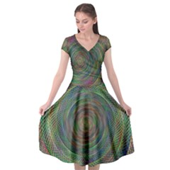 Spiral Spin Background Artwork Cap Sleeve Wrap Front Dress