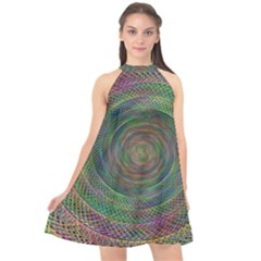 Spiral Spin Background Artwork Halter Neckline Chiffon Dress  by Nexatart