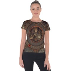 Steampunk, Awesome Clocks Short Sleeve Sports Top  by FantasyWorld7