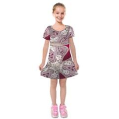 Morocco Motif Pattern Travel Kids  Short Sleeve Velvet Dress by Nexatart