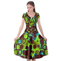 Psychedelic Lights 6 Cap Sleeve Wrap Front Dress by MoreColorsinLife