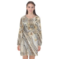 Background Structure Abstract Grain Marble Texture Long Sleeve Chiffon Shift Dress  by Nexatart