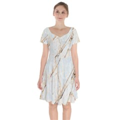 Marble Texture White Pattern Surface Effect Short Sleeve Bardot Dress by Nexatart