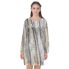Texture Structure Marble Surface Background Long Sleeve Chiffon Shift Dress  by Nexatart