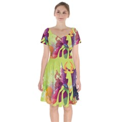 King Thorax Stream Wall  Short Sleeve Bardot Dress by amphoto
