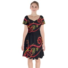 Line Patterns Plexus Short Sleeve Bardot Dress by amphoto