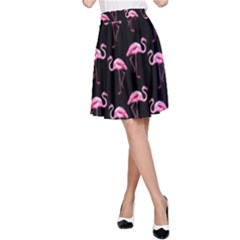 Flamingo Pattern A Line Skirt by Valentinaart