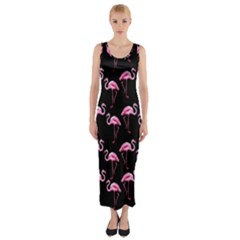 Flamingo Pattern Fitted Maxi Dress by Valentinaart