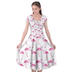 Flamingo Pattern Cap Sleeve Wrap Front Dress by Valentinaart