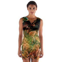 Leaves Plant Multi Colored  Wrap Front Bodycon Dress by amphoto
