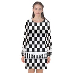 Chess  Long Sleeve Chiffon Shift Dress  by Valentinaart