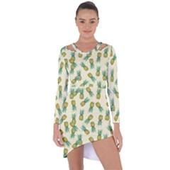Pineapples Pattern Asymmetric Cut Out Shift Dress by Valentinaart