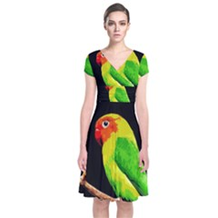 Parrot  Short Sleeve Front Wrap Dress by Valentinaart