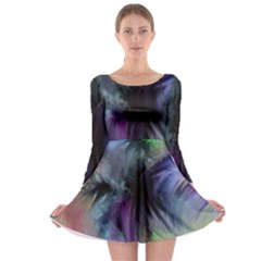 Brush Paint Light  Long Sleeve Skater Dress by amphoto