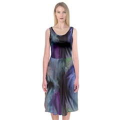 Brush Paint Light  Midi Sleeveless Dress by amphoto