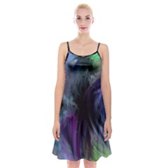 Brush Paint Light  Spaghetti Strap Velvet Dress by amphoto