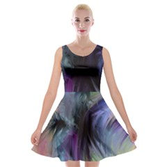 Brush Paint Light  Velvet Skater Dress by amphoto