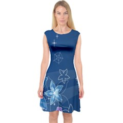 Abstraction Pattern Color  Capsleeve Midi Dress by amphoto