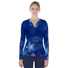 Abstraction Pattern Color  V Neck Long Sleeve Top by amphoto