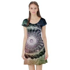 Circle Figures Background  Short Sleeve Skater Dress by amphoto