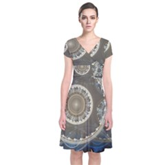 2299 Circles Light Gray 3840x2400 Short Sleeve Front Wrap Dress by amphoto