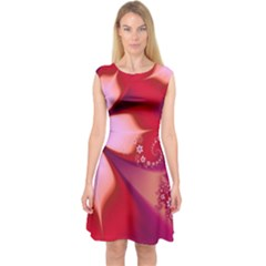 2480 Flowers Petals Red 3840x2400 Capsleeve Midi Dress by amphoto