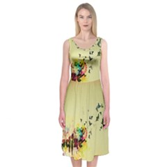 2398 Flight Sky Butterflies 3840x2400 Midi Sleeveless Dress by amphoto