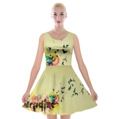 2398 Flight Sky Butterflies 3840x2400 Velvet Skater Dress by amphoto