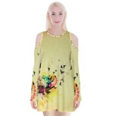 2398 Flight Sky Butterflies 3840x2400 Velvet Long Sleeve Shoulder Cutout Dress by amphoto