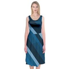 2435 Line Gray Blue 3840x2400 Midi Sleeveless Dress by amphoto
