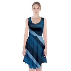 2435 Line Gray Blue 3840x2400 Racerback Midi Dress by amphoto