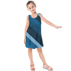 2435 Line Gray Blue 3840x2400 Kids  Sleeveless Dress by amphoto