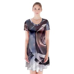 2272 Paper Paint Lines 3840x2400 Short Sleeve V Neck Flare Dress by amphoto