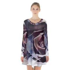 2272 Paper Paint Lines 3840x2400 Long Sleeve Velvet V Neck Dress by amphoto