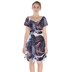 2272 Paper Paint Lines 3840x2400 Short Sleeve Bardot Dress by amphoto
