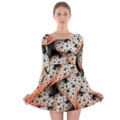 Dots Leaves Background  Long Sleeve Skater Dress by amphoto